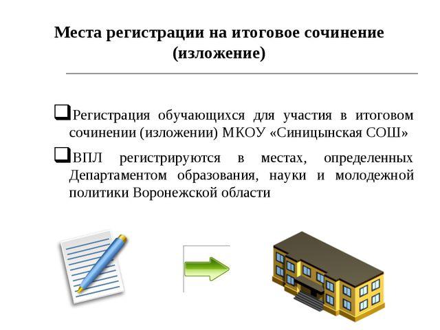 * Регистрация обучающихся для участия в итоговом сочинении (изложении) МКОУ «...