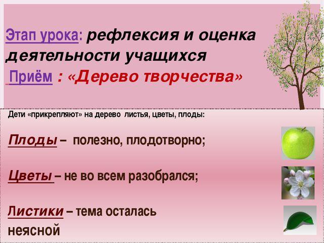 Этап урока: рефлексия и оценка деятельности учащихся Приём : «Дерево творчест...