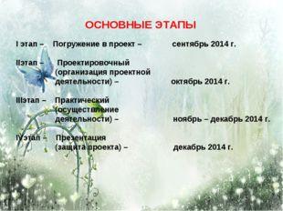 ОСНОВНЫЕ ЭТАПЫ I этап – Погружение в проект – сентябрь 2014 г. IIэтап – Проек