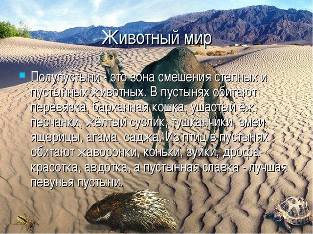 Полупустыни - это зона смешения степных и пустынных животных. В пустынях обит...
