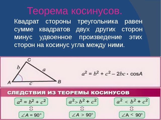 Теорема косинусов. Квадрат стороны треугольника равен сумме квадратов двух др...