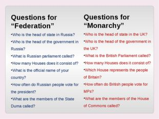 "Questions for ""Federation"" Who is the head of state in Russia? Who is the hea"