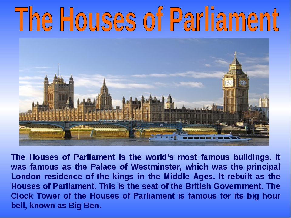 The Houses of Parliament is the world's most famous buildings. It was famous...