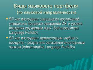 Виды языкового портфеля (по языковой направленности) ЯП как инструмент самооц