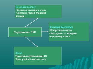 Содержание ЕЯП Языковой паспорт Описание языкового опыта Описание уровня влад