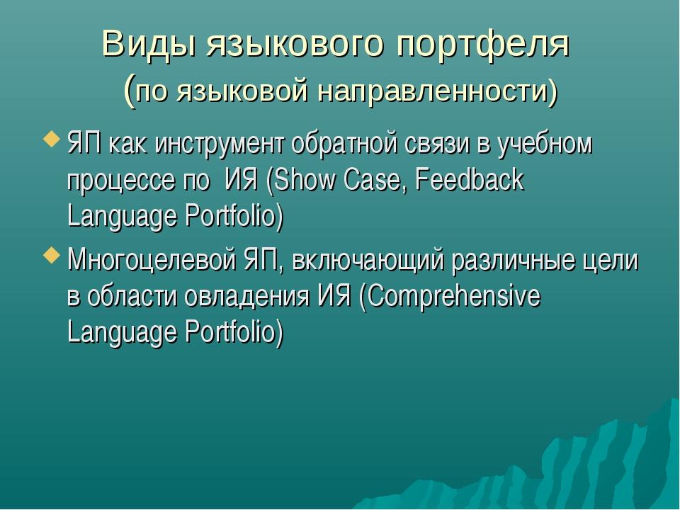 Виды языкового портфеля (по языковой направленности) ЯП как инструмент обратн...