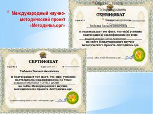 Международный научно-методический проект «Методичка.орг»