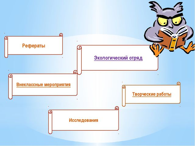 Рефераты Экологический отряд Внеклассные мероприятия Исследования Творческие...