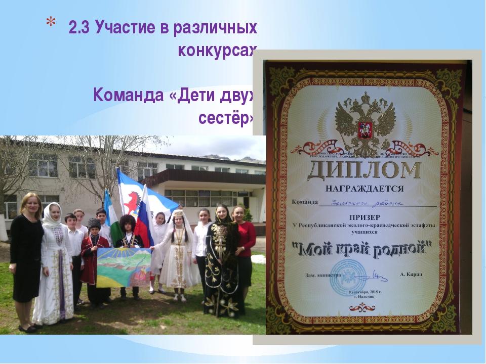 Результат 2.3 Участие в различных конкурсах Команда «Дети двух сестёр»