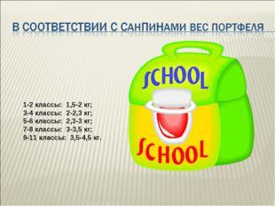 1-2 классы: 1,5-2 кг; 3-4 классы: 2-2,3 кг; 5-6 классы: 2,3-3 кг; 7-8 классы: