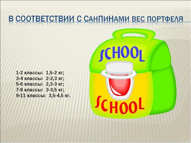 1-2 классы: 1,5-2 кг; 3-4 классы: 2-2,3 кг; 5-6 классы: 2,3-3 кг; 7-8 классы:...