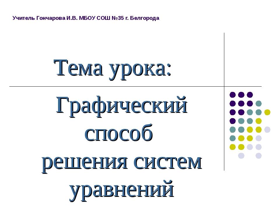 Тема урока: Графический способ решения систем уравнений Учитель Гончарова И.В...