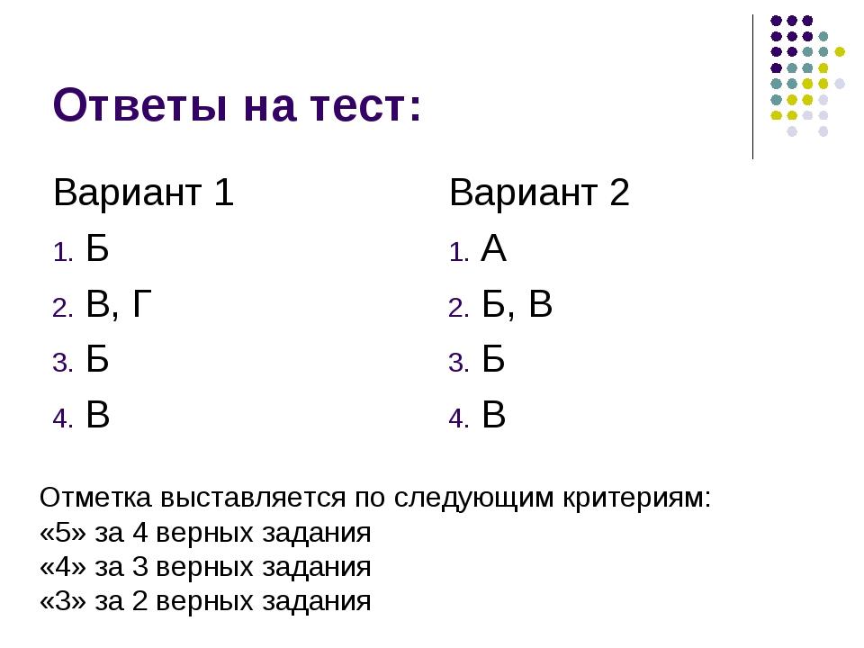 Ответы на тест: Вариант 1 Б В, Г Б В Вариант 2 А Б, В Б В Отметка выставляетс...
