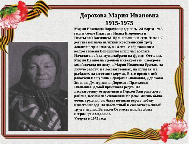 Дорохова Мария Ивановна 1915-1975 Мария Ивановна Дорохова родилась 24 марта...