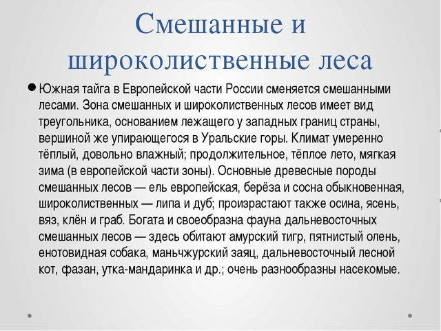 Южная тайга в Европейской части России сменяется смешанными лесами. Зона смеш...