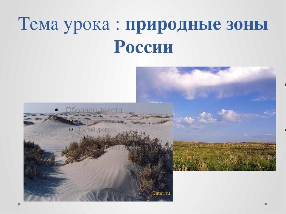 Тема урока : природные зоны России