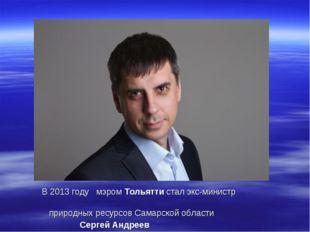 В 2013 году мэромТольяттистал экс-министр природных ресурсов Самарской обл