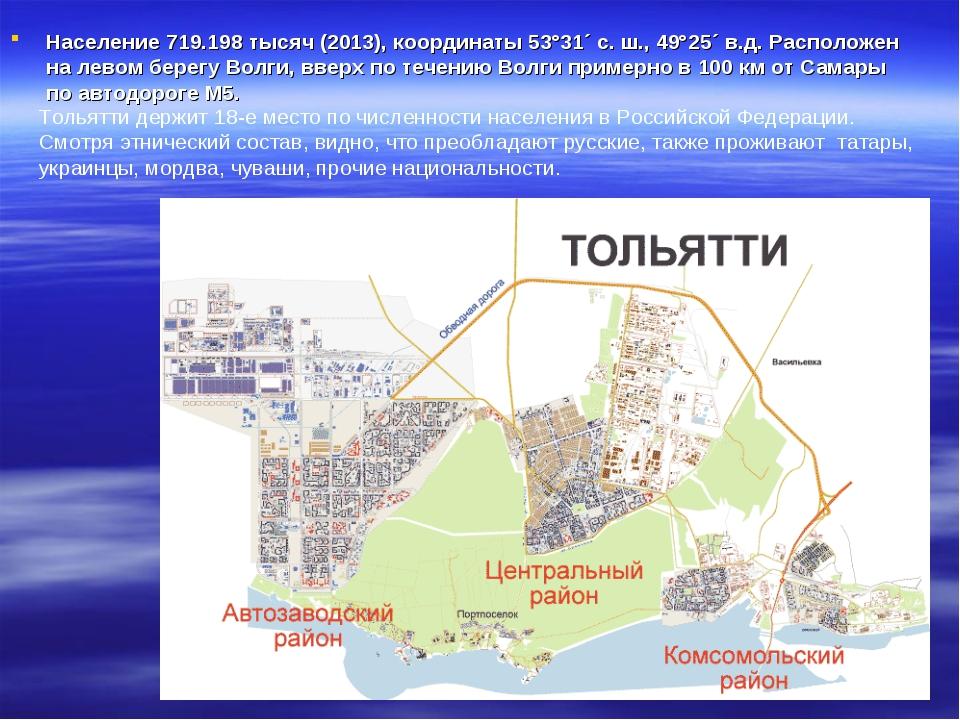 Население 719.198 тысяч (2013), координаты 53°31´ с. ш., 49°25´ в.д. Располож...