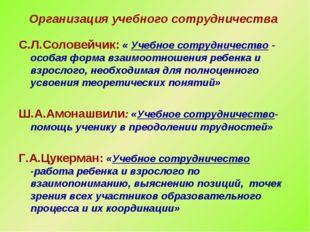 Организация учебного сотрудничества С.Л.Соловейчик: « Учебное сотрудничество