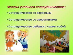 Формы учебного сотрудничества: Сотрудничество со взрослым Сотрудничество со