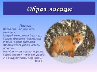 Образ лисицы Лисица Как желна, над нею мгла металась, Мокрый вечер липок был