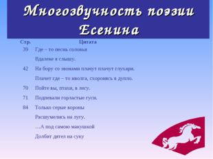 Многозвучность поэзии Есенина Стр.Цитата 39  42  70 71 84 Где – то песнь