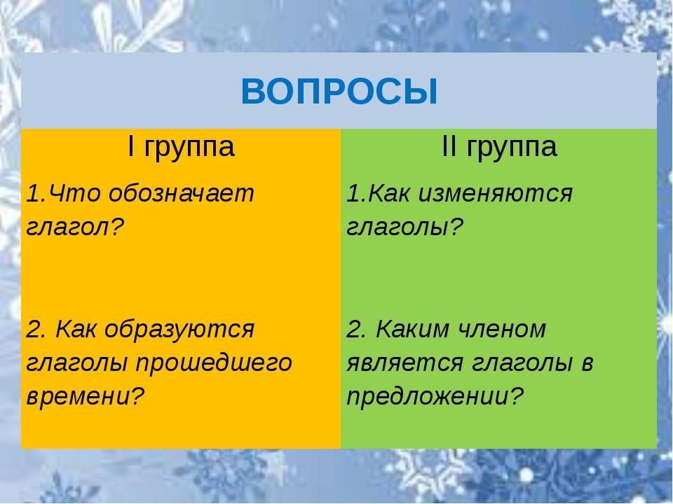 ВОПРОСЫ Iгруппа IIгруппа 1.Чтообозначает глагол? 1.Какизменяются глаголы? 2....