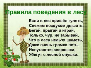 Правила поведения в лесу Если в лес пришёл гулять, Свежим воздухом дышать, Бе
