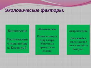 Экологические факторы: Биотические Растения,животные,человек. Косяк рыб. Абио