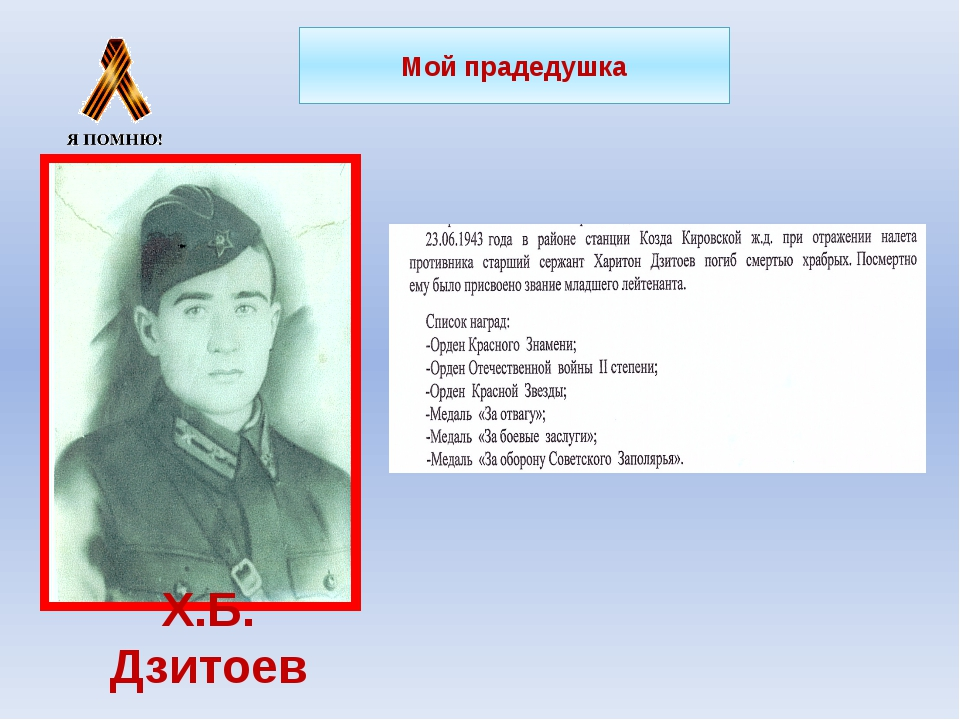 Мой прадедушка Х.Б. Дзитоев