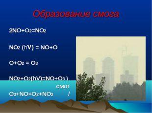 Образование смога 2NO+O2=NO2 NO2 (h) = NO+O O+O2 = O3 NO2+O2(hV)=NO+O3 \ смо