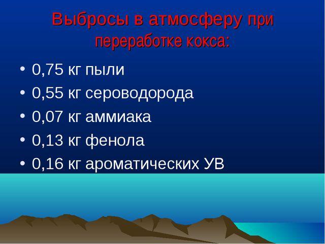 Выбросы в атмосферу при переработке кокса: 0,75 кг пыли 0,55 кг сероводорода...