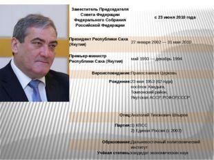 Заместитель Председателя Совета Федерации Федерального Собрания Российской Ф