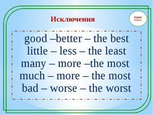English Grammar good –better – the best little – less – the least many – mor