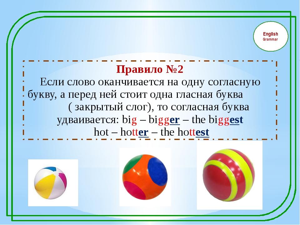 English Grammar Правило №2 Если слово оканчивается на одну согласную букву,...