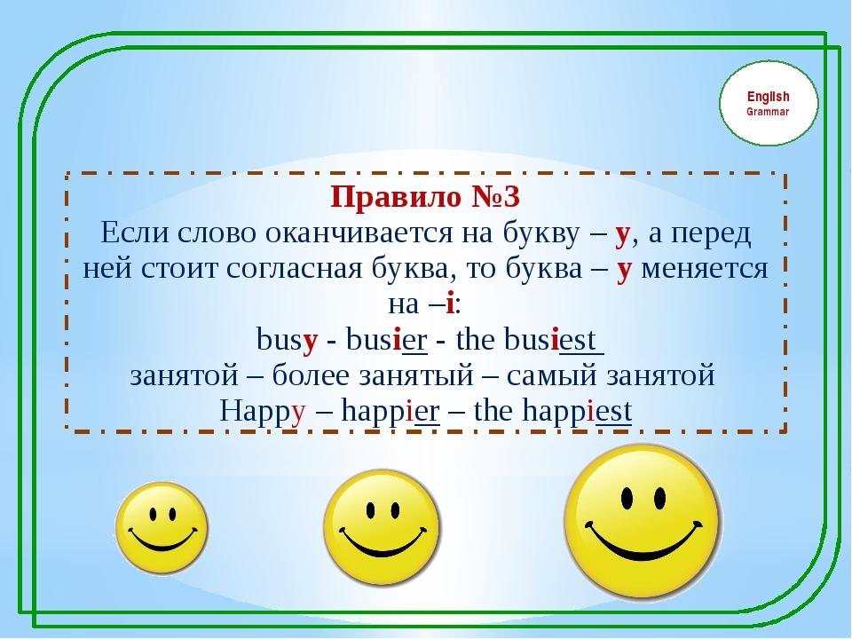 English Grammar Правило №3 Если слово оканчивается на букву – у, а перед ней...