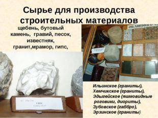 Сырье для производства строительных материалов щебень, бутовый камень, гравий