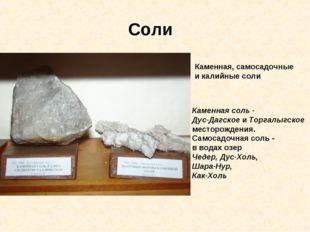 Соли Каменная, самосадочные и калийные соли Каменная соль - Дус-Дагское и Тор