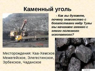 Каменный уголь - Как вы думаете, почему знакомство с богатствами недр Тувы мы