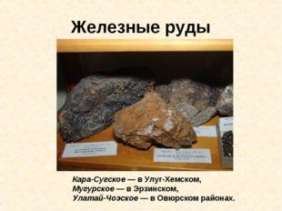 Железные руды Кара-Сугское — в Улуг-Хемском, Мугурское — в Эрзинском, Улатай-