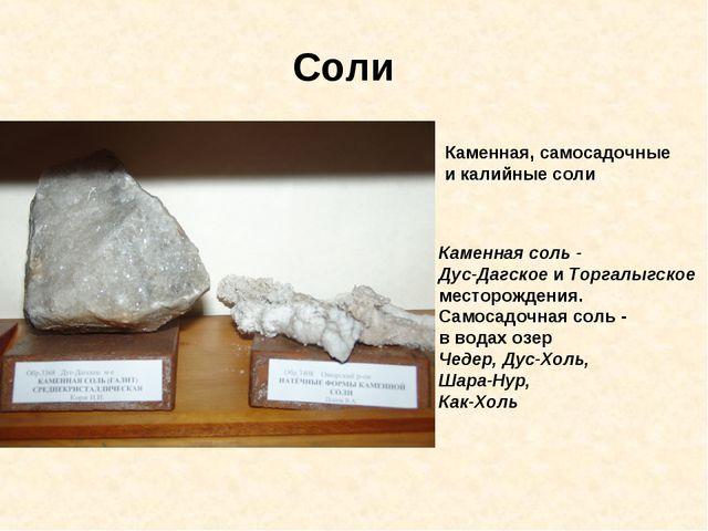 Соли Каменная, самосадочные и калийные соли Каменная соль - Дус-Дагское и Тор...