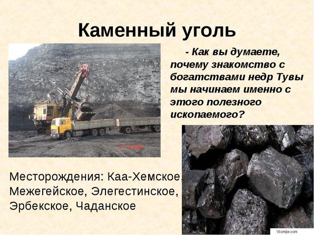 Каменный уголь - Как вы думаете, почему знакомство с богатствами недр Тувы мы...