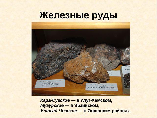 Железные руды Кара-Сугское — в Улуг-Хемском, Мугурское — в Эрзинском, Улатай-...