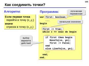 * Как соединить точки? Алгоритм: Если первая точка перейти в точку (xэ,yэ) ин