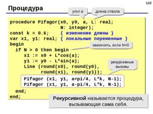 * Процедура угол α длина ствола procedure Pifagor(x0, y0, a, L: real; N: inte