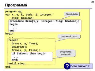 * Программа program qq; var x, y, k, code, i: integer; stop: boolean; begin .