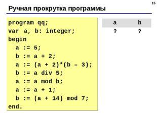 * Ручная прокрутка программы program qq; var a, b: integer; begin a := 5; b