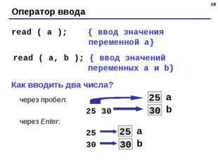 * Оператор ввода read ( a ); { ввод значения переменной a} read ( a, b ); { в