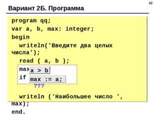 * Вариант 2Б. Программа program qq; var a, b, max: integer; begin writeln(