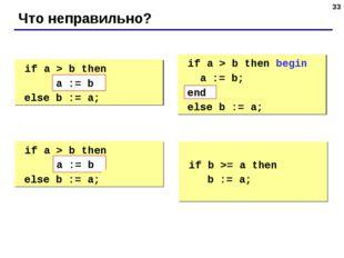 * Что неправильно? if a > b then begin a := b; else b := a; if a > b then b